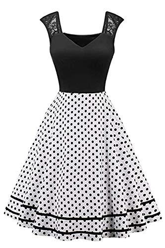 MisShow Damen 1920er Vintage Polka Dots Kleider Schwing Rockabilly Petticoat Kleider Weiss XL