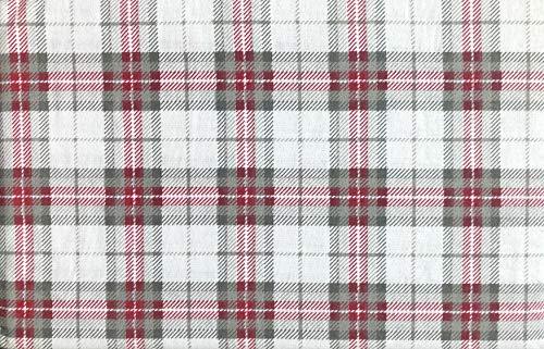 Nordic North Bedding 4-teiliges Bettwäsche-Set aus Baumwollflanell, für King-Size-Bett, gestreift, Schottenmuster, Grau/Rot/Weiß -