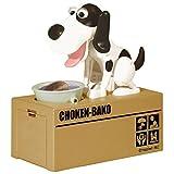 Elektronische Spardose Verrückter Hund Schwarz Weiß 18 cm Groß - Sparschwein Geschenk für Kind Geld Münze Fun Lustig Wackelt Box
