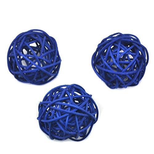 10 Stück Natur Wicker Rattan Kugeln Tischschmuck Hochzeit Party zum Aufhängen Wobble Ball Weihnachten Deko 6cm Blau (Blau Wicker)