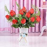 Simulación ramo falsa decoración de la mesa sala de estar pequeña en maceta mesa de té ajuste conjunto de flores secas decoraciones de flores de plástico ...