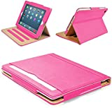 "MOFRED® Pink & Tan Apple iPad Air 2 (Launched Oct. 2014) Leather Case-MOFRED®- Executive Multi Function Leather Standby Case for Apple New iPad Air 2 with Built-in magnet for Sleep & Awake Feature -- Independently Voted by ""The Daily Telegraph"" as #1 iPad Air 2 Case!"