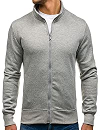 BOLF Herren Sweatshirt Sweatjacke Pullover Langarmshirt Stehkragen Zip 1A1 Motiv