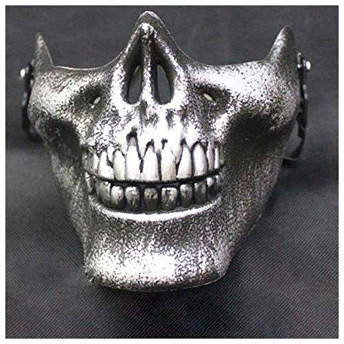 YaPin DREI Generationen von Chieftain Maske Half Face Erwachsene COS Kampfausrüstung Requisiten Gesichtsschutz Terrorist Maske (Color : Vintage Silver)