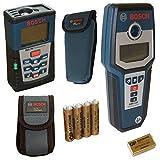 Bosch Multi-Ortungsgerät GMS 120 + Bosch Laser Entfernungsmesser DLE 70 + Handschlaufen + Schutz-Taschen + Batterien