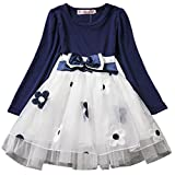 Waboats Baby Mädchen Prinzessin Kleid Frühling Herbst Party Kostüm Kleidung (9 Monat, Marineblau A)