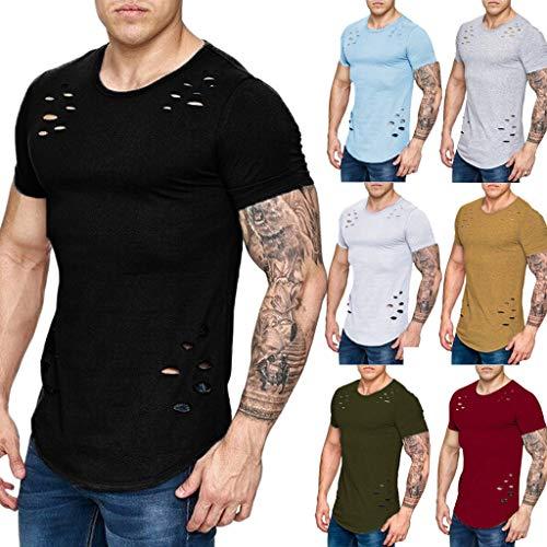 T-Shirt Top Blouse Mode Hommes Eté Casual Fashion Chic Broken Hole Manches Courtes Couleur Unie 8 Couleur M-XXXL