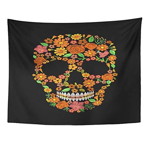 Dia De Los Muertos Dekor - Alfreen Tapisserie, Kunst-Dekor, Wandbehang, Wandteppich, Totenkopf-Gesicht,