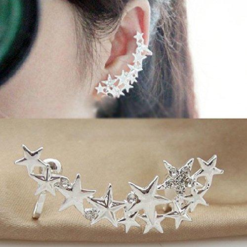 Everpert - Pendientes de estrellas de plata para cartílago de la oreja, no se necesita agujero (1 par)
