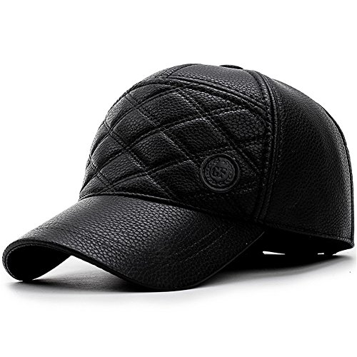 Yooeen Unisex Baseballcap Leather Waterproof Verstellbar Winter Warm Basecap Schirmmützen Golf cap für Herren Damen mit Ohrenklappen Ohrwärmer (Golf Cap Gefüttert)