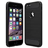 Anjoo iPhone 6/6s Hülle, Carbon Fiber Texture-Inner Shock Resistant-Weich & Flexibel TPU Cover Case für iPhone 6 iPhone 6s, Schwarz