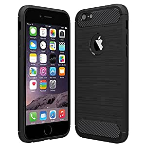 anjoo coque iphone 6 6s noir silicone housse etui anti rayures fibre de carbone coque de. Black Bedroom Furniture Sets. Home Design Ideas