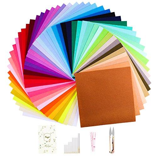 Fuyit Filzstoff 48 Farben Bunte Filzplatten Bastelfilz Filz Blätter Polyester Felt Fabric DIY Stoff Filzplattenset Bunt (30 x 30 cm) (Blatt-untersetzer-set)