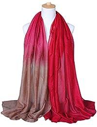 Junejour Femme Foulard Longue en Soie Couleur de Dégradé pour Automne Hiver 3b82b5bb0f8