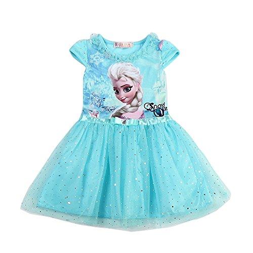 Kleid Und Elsa Anna (MiXiaoJie Mädchen Kleid Prinzessin Kleid Partykleid BlumenMädchen Pailletten glänzend Kleider Kostüme (6 Jahren/Herstellergröße 7T,)