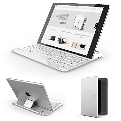 "Anker Ultra-Thin Deutsche Bluetooth Tastatur Keyboard Case Cover für Apple iPad Air 2 / iPad Air / New iPad 9.7""(2017) - Smart Cover mit eingebauter 800mAh Li-ion Batterie (Weiß)"