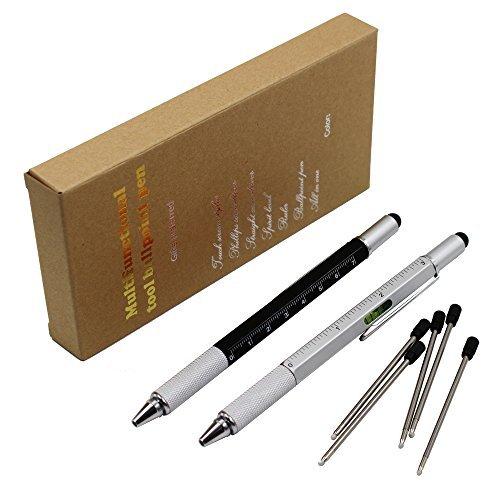 2PCS PACK 6 in 1 Multifunktion swerkzeugstift - Enthält 1 Kugelschreiber, Universalstylus Spitze, Lineal, 2 Arten Schraubenzieher, Gradienter - Multifunktions Schreibgeräte (Schwarzes Silber)
