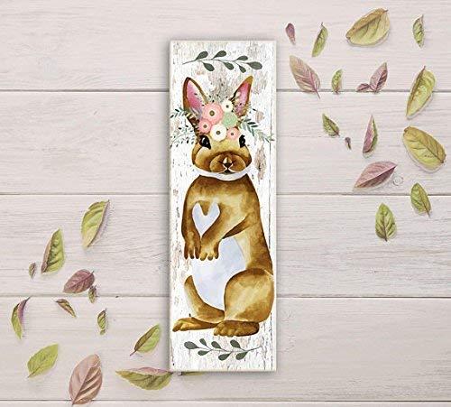 Woodland Weißen Schreibtisch (qidushop Kaninchen vertikal rustikal grün rosa weiß Blumen Kinderzimmer Schild Woodland Animal Sign Home Holzschild Funny Craft Wall Decor Schild)