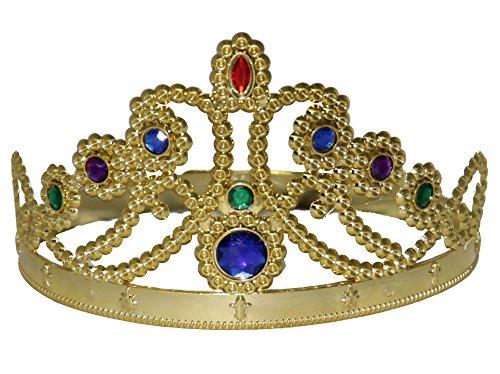 Foxxeo 35091 | goldene Krone für Kinder König Königin Prinzessin Diadem gold mit Steinen Prinz (Königin Krone)