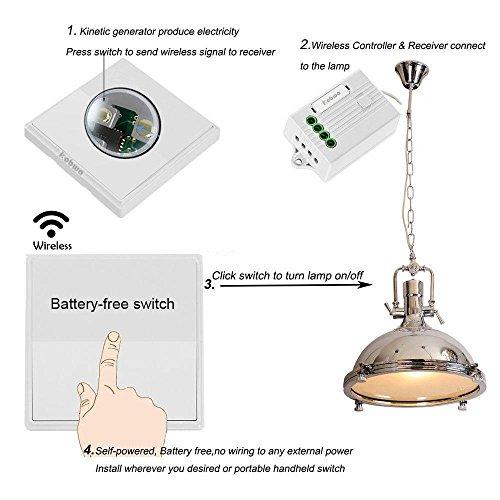KOBWA Lichtschalter Funkschalter Set, Keine Batterie Keine ...