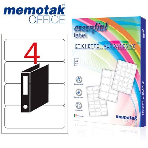 Packung mit 100Blatt A4Etiketten Aufkleber memotak Format in Millimeter 190x 61400Etiketten für Behälter