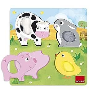 Goula - 53055 - Puzzle - Animaux Ferme Tissu - Taille 22 x 22 cm