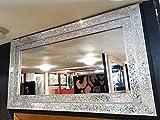 Premierinteriors Große Crackle Glas Silber Mosaik Wandspiegel mit Bilderrahmen, 128x 68cm Handgefertigt Neu