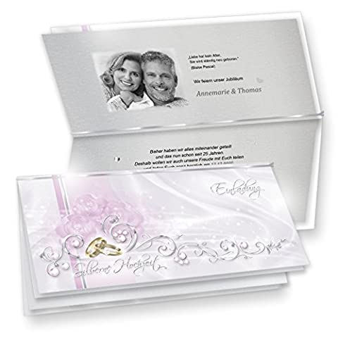 Einladung Silberne Hochzeit (10 Sets) hinreissend - fein abgestimmte Einladungskarten in Silberoptik. Set mit Karten, Umschläge, Einlegeblätter zum Selbstbedrucken + Silberbändchen - sehr elegant!