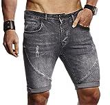 LEIF NELSON Herren Männer Jungen Sommer Kurze Jogger Jeans Hose Shorts Jeanshose Chinos Cargo Bermuda Basic 5-Pocket, Schwarz, W32