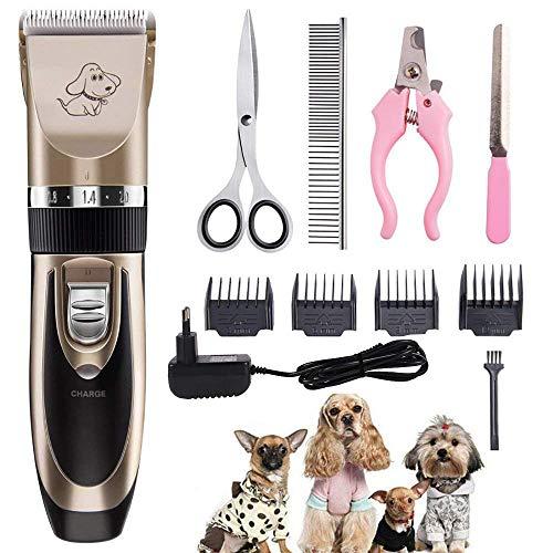 AODATU Tierhaarschneider Schermaschine Hunde Katze Haustiere Haarschneider Wasserdicht Wiederaufladbar Drahtlose Leise Tierhaarschneidemaschine Kit -