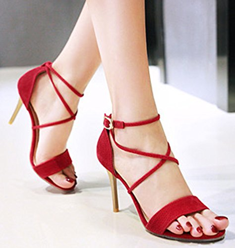 Aisun Femme Sexy Peep Toe Lanière Sandales Rouge