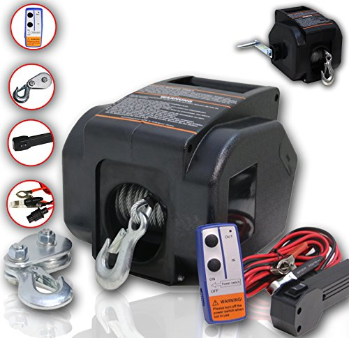 DMS 12V Elektrische Seilwinde 4990 KG Funk Motorwinde Bootswinde Winde Seilzug ESWB-01