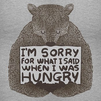 NERDO - I'm sorry for what I said when I was hungry - Herren Langarm T-Shirt Grau Meliert