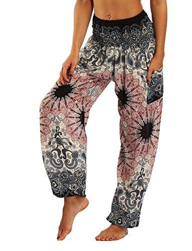 Mieuid Mujer Pantalones Harem Pantalones Verano Pantalones Yoga Impresión Anchos Casuales Pluderhose Pantalones De Tela Lindo Chic (Color : Rosa Blume, Size : One Size)