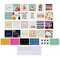 ‏‪72-Pack All Occasion Mini Greeting Cards - Small Blank Note Cards for Birthday, Wedding, Baby Shower, Flower Bouquets, Gift Tags, Bulk Variety Pack with 72 Envelopes and 72 Stickers, 2.5 x 2.5 Inches‬‏