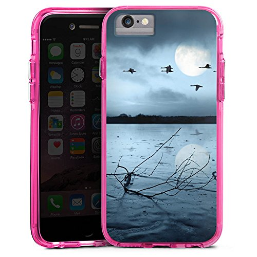Apple iPhone 6 Bumper Hülle Bumper Case Glitzer Hülle Birds Voegel Mond Bumper Case transparent pink