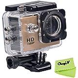 CkeyiN ® 1080P Full HD Impermeable Cámara de Acción Deportiva con Pantalla LCD de 2.0 Pulgadas (Oro)