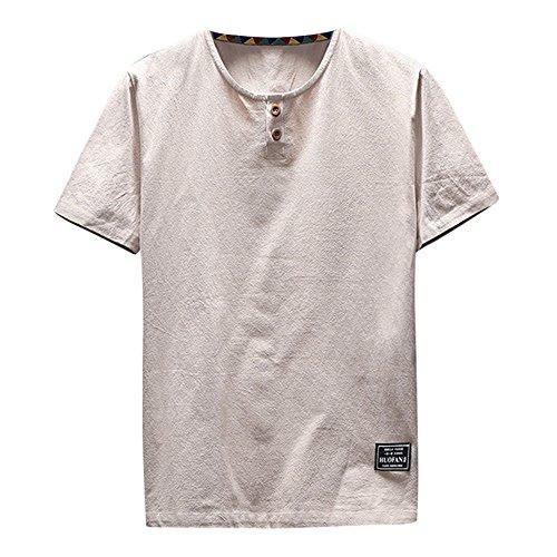 UFACE Sommer Herren T-Shirt Baumwolle Leinen Hemd Casual Longsleeve V-Ausschnitt Langarmshirt Tops Strand Yoga Bluse Einfarbig Lose Coole Hemden Lässig Hemden Für ()