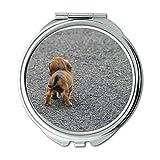 Yanteng Spiegel, Compact Spiegel, Dog Puppy Wurst Brown Small Cute, Taschenspiegel, tragbarer Spiegel