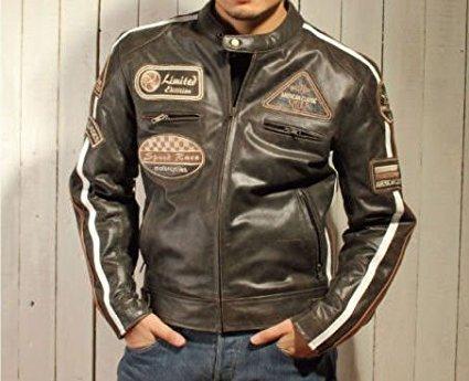 Herren Lederjacke, Motorrad Lederjacke, Bikerjacke, Rind Leder, (4XL) - 2