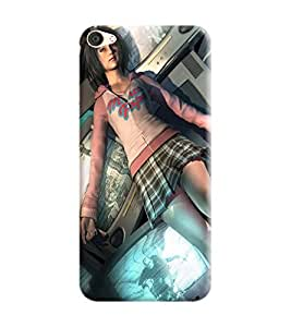 Vivo Y55L Back Cover designer 3D Hard Mobile Case printed Cover for vivo y55L by Gismo - Animted Girl comic