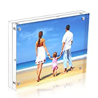 HIIMIEI Acrylic Picture Frame 13x18cm,12+12mm Thickness Acrylic Photo Block,Double Sided Clear Acrylic Photograph Frames With Gift Box Package