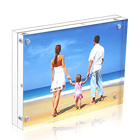 Acrylic Photo Frame 6x8'', Niubee® Plexiglass Magnetic Picture Frame Desktop Display with Gift Box Package (24mm Thickness)