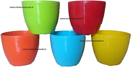 Malhotra Plastic Cool Pot (13cm, Pack of 5, Multicolour)