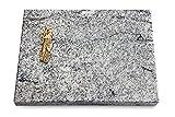 Generic Grabtafel, Grabplatte, Grabstein, Grabkissen, Urnengrabstein, Liegegrabstein Modell Pure 40 x 30 x 3-4 cm Viskont-White-Granit, Poliert inkl. Gravur (Bronze-Ornament Maria)