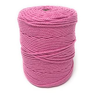 Whimsy Designs Macrame Craft Cord Rope 3mm Pink 100% Cotton Reel – piping cord, washing line, piping cord, furniture wrapping, plant hangers, wall hangings (pink 3mm)