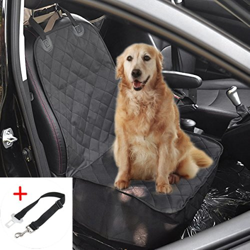 Pettom Non-slip Pet Bucket Seat Cover Dog Car Front Seat Cover Protector for Your Pet Fits most Cars Trucks and SUVs, Heavy Duty Waterproof Material (Black ) (Tür-car-cover Hund,)