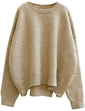 futurino sólido largo gota de la mujer mangas Loose Knit Pullover Sweater