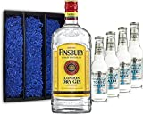 Gin Tonic Geschenkset - Finsbury London Dry Gin 70cl (37,5% Vol) + 4x Fever Tree Naturally Light Tonic Water 200ml + Geschenkverpackung