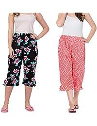 Nasheeza Women's Cotton Capri Night Pyjamas Nightwear Capri for Girls and Women Printed 3/4 Pyjama (Pack of 2pcs) Free Size (fits from 28-34 inches Waist), Prints May Vary (Assorted Capri)